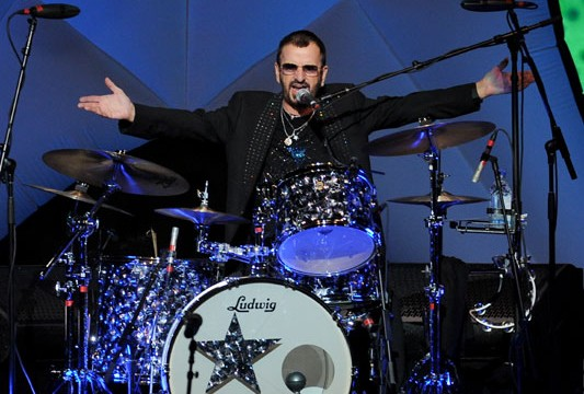 Ringo on his Ludwig drum kit