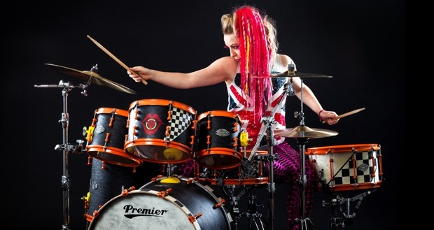 Vicky O'Neon On Premier Drums