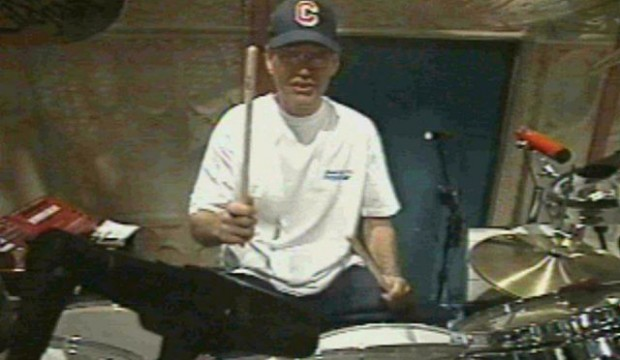Letterman plays his drums